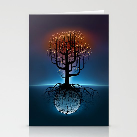 Tree, Candles, and the Moon Stationery Cards