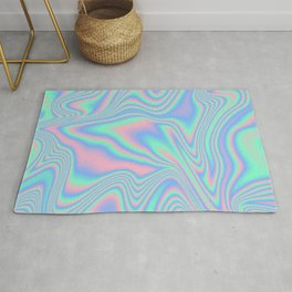 Abstract Holographic Iridescent Texture  Rug