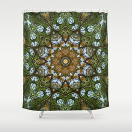 Yellow Tree Flower Kaleidoscope Art 5 Shower Curtain