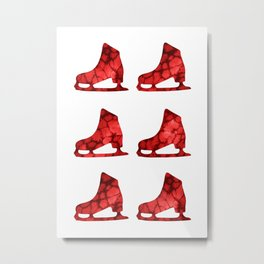 Watercolor Figure Skates (Red) Metal Print