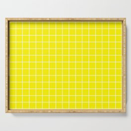 Cadmium yellow - yellow color - White Lines Grid Pattern Serving Tray
