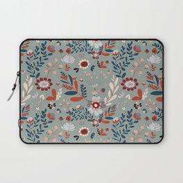 Deep Indigos & Gray Garden Hearts Laptop Sleeve