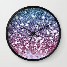 Sparkly Unicorn Blue Purple Pink Glitter Ombre Wall Clock