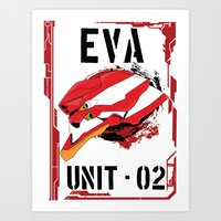 evangelion Art Prints featuring Evangelion Unit 02 by Savinity