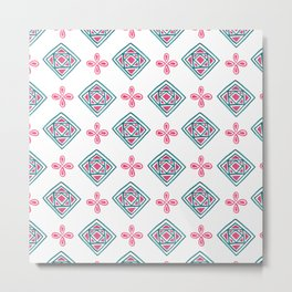Modern neon pink green watercolor motif pattern Metal Print