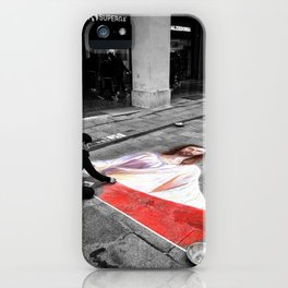 Street Art in Bologna Black and White Photography Color iPhone Case
