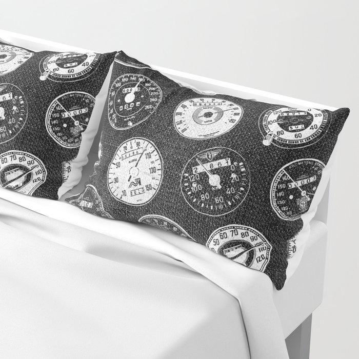 Dark Vintage Motorcycle Speedometers Pillow Sham