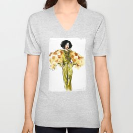 fashion 29: woman in a golden dress and fur jacket Unisex V-Neck