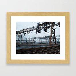 signal and catenary bridge Framed Art Print