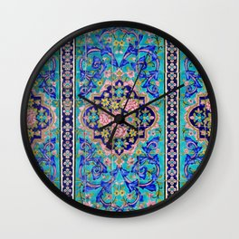 Turquoise Floral tile Wall Clock