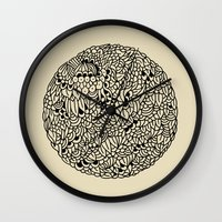 mandala Wall Clocks featuring Mandala by Marcelo Romero