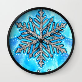 Watercolor Doodle Art | The Snowflake Wall Clock