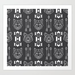 Line style print with wolf and bear totems and native americans culture stylized elemets Art Print