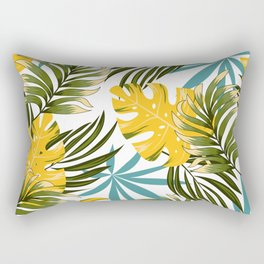 Fashionable seamless tropical pattern with bright plants and leaves on a white background. Beautiful print with hand drawn exotic plants. Tropical botanical. Rectangular Pillow