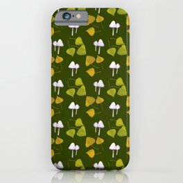 mushrooms and leaves iPhone Case