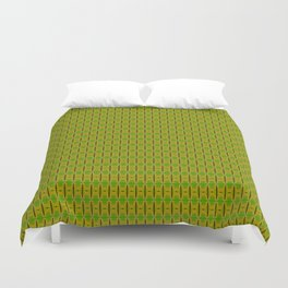 Heliconia Green Gold Stalks Pattern Duvet Cover