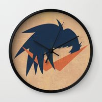 gurren lagann Wall Clocks featuring Minimalist Kamina by 5eth