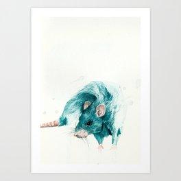 Blue rat Art Print
