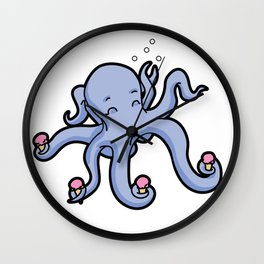 happy octopus ice cream time Wall Clock