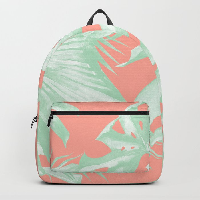 Island Love Coral Pink + Light Green Backpack