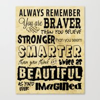 sayings Canvas Prints featuring Personal Affirmation - You are Brave, Strong, Smart and Beautiful - Positive Sayings by Traci Hayner Vanover