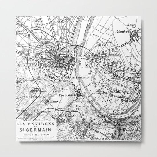 Vintage Paris Map Metal Print