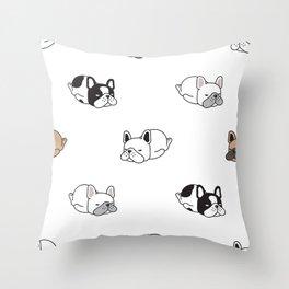 Resting French Bulldog Pattern Throw Pillow