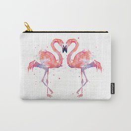 Pink Flamingo Love Two Flamingos Carry-All Pouch