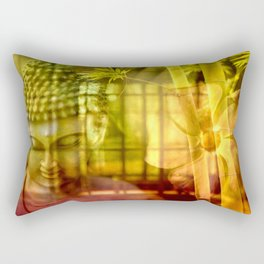 Zen & Spiritual Relaxation - Buddha & Bamboo Rectangular Pillow