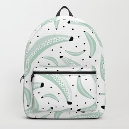 Cool inky texture mint banana fruit summer pattern design with dots Backpack