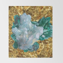 WHITE QUARTZ &  AQUAMARINE CRYSTALS  ON GOLD Throw Blanket