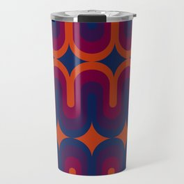 70s Geometric Design - Sunset Swoops Travel Mug