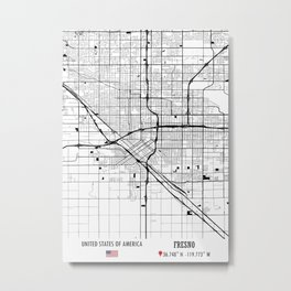 Fresno USA Road Map Art - Earth Tones Metal Print