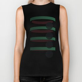 Geometric coloured architectural but abstract urban circles and elipses in green  and red graphic Biker Tank
