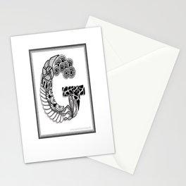 Zentangle G Monogram Alphabet Initials Stationery Cards