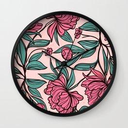 Floral Obsession (pink peonies vintage flowers pattern) Wall Clock