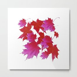 PURPLE-fuchsia maroon color blowing leaves Metal Print