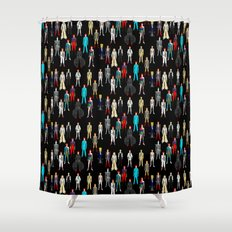 Bowie Scattered Pattern Black Shower Curtain