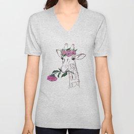 Giraffe, Giraffe with flower, animal, nature Unisex V-Neck