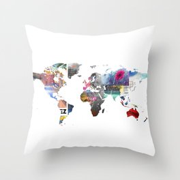 World map collage Throw Pillow