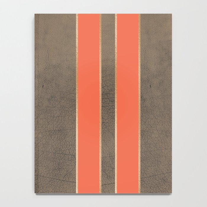 Vintage Hipster Retro Design - Brown Leather with Gold and Orange Stripes Notebook