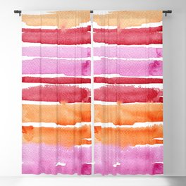 Summer stripes in pink and orange Blackout Curtain