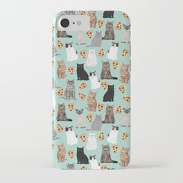 Cats with Pizza slices cheesy food funny cat lover gifts by pet friendly pet portraits iPhone Case