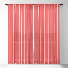 Classic White Baseball Stripe Lines On Red Sheer Curtain