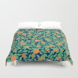 Oranges and Leaves Pattern - Navy Blue Duvet Cover