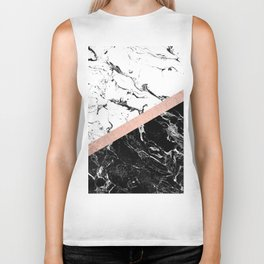 Modern black white marble color block rose gold Biker Tank