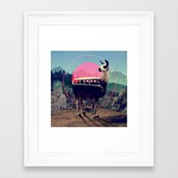 whimsical Framed Art Prints featuring Llama by Ali GULEC