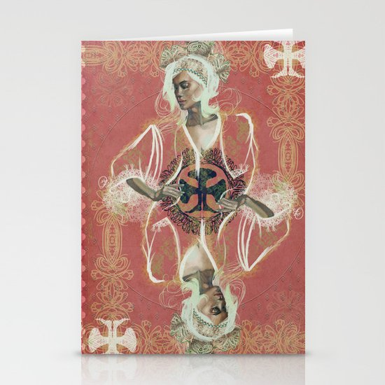 Queen Of Clubs Stationery Cards