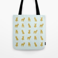 Gold and turquoise French Bulldogs pattern Tote Bag