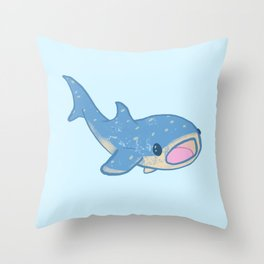 Shocked Little Whale Shark Throw Pillow